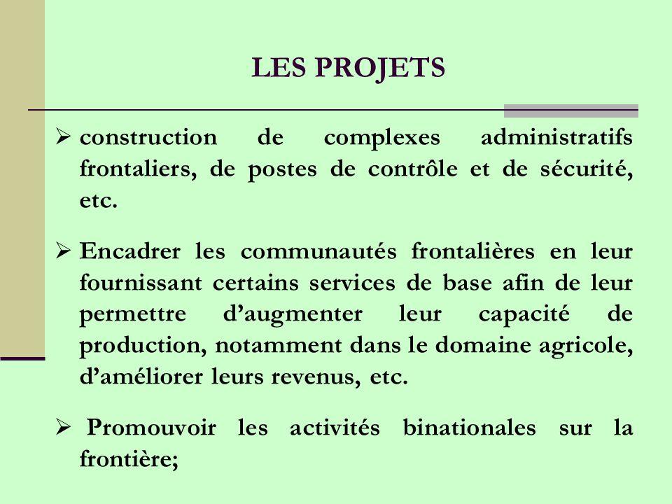 LES PROJETS construction de complexes administratifs frontaliers, de postes de contrôle et de sécurité, etc.