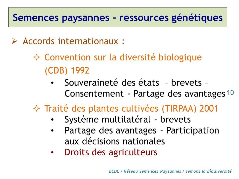 Semences paysannes - ressources génétiques