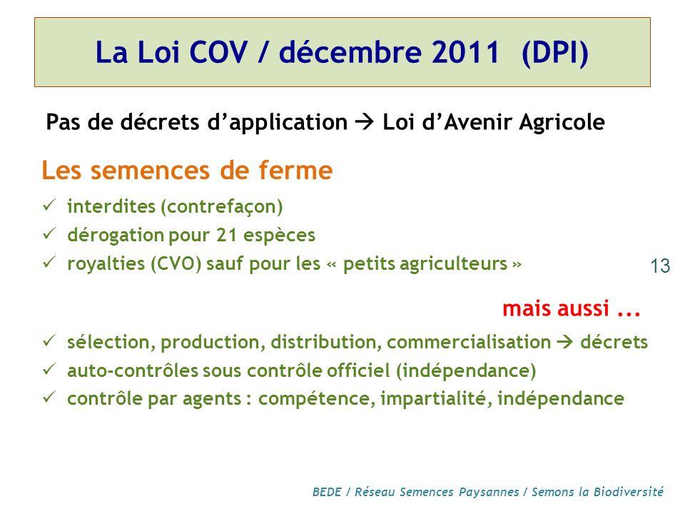 La Loi COV / décembre 2011 (DPI)