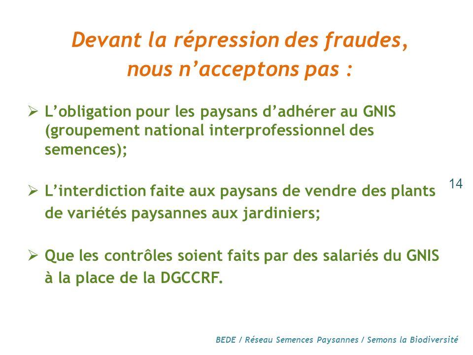 Devant la répression des fraudes,