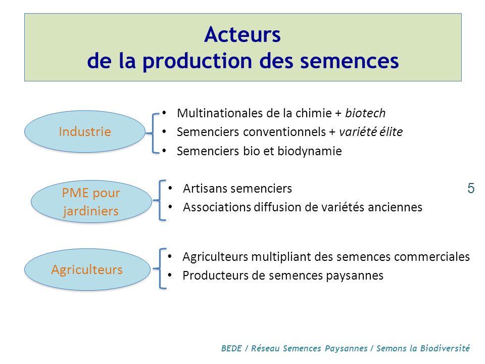 Acteurs de la production des semences