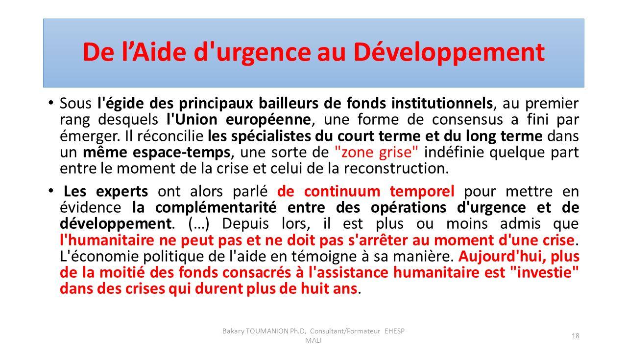 De l'Aide d urgence au Développement