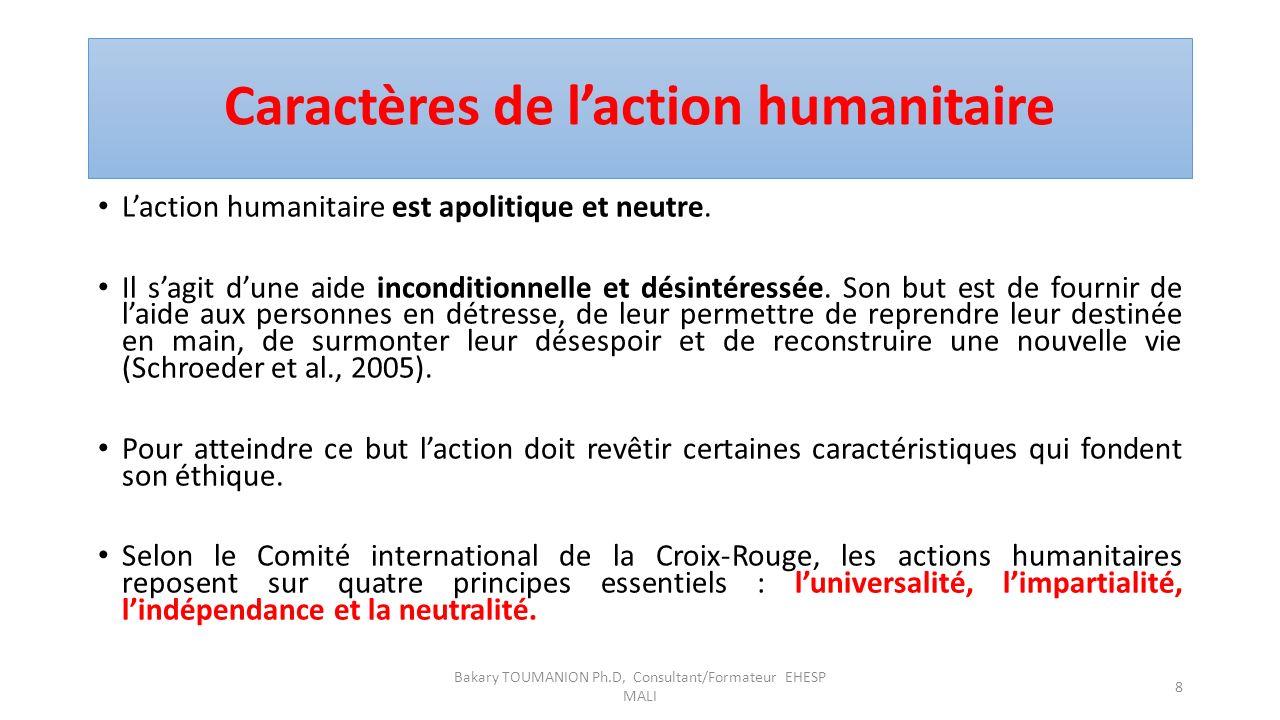 Caractères de l'action humanitaire