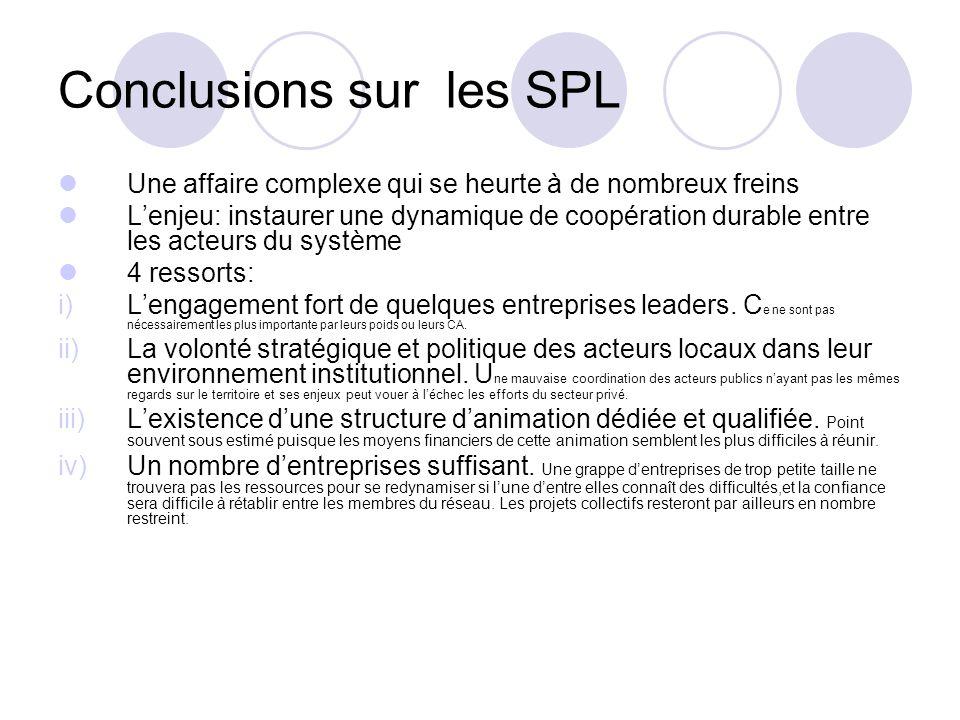 Conclusions sur les SPL