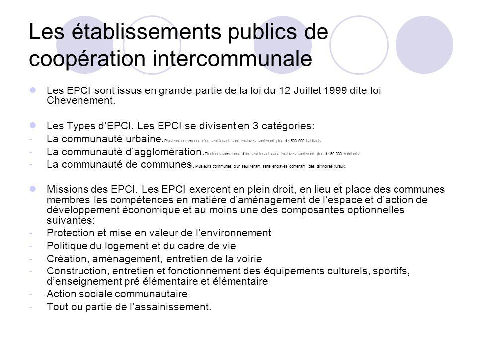 Les établissements publics de coopération intercommunale