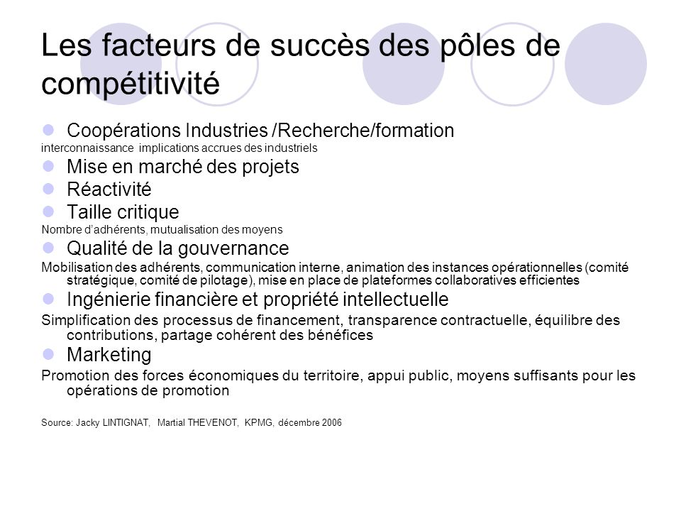 Les facteurs de succès des pôles de compétitivité