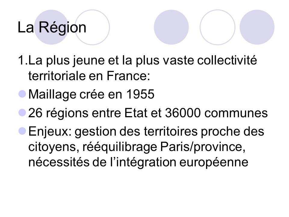 La Région 1.La plus jeune et la plus vaste collectivité territoriale en France: Maillage crée en 1955.