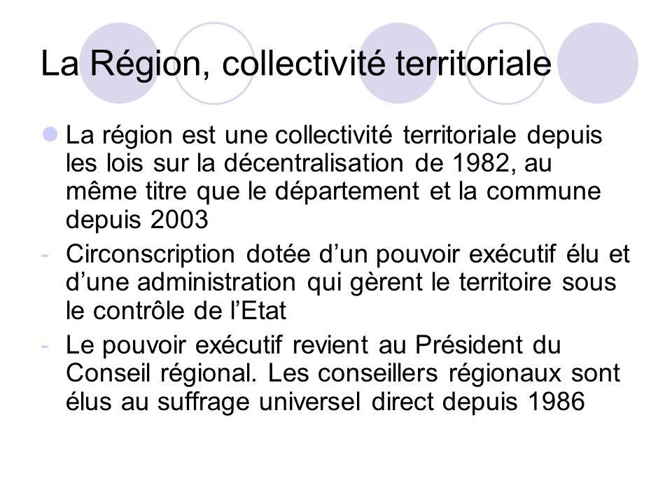 La Région, collectivité territoriale