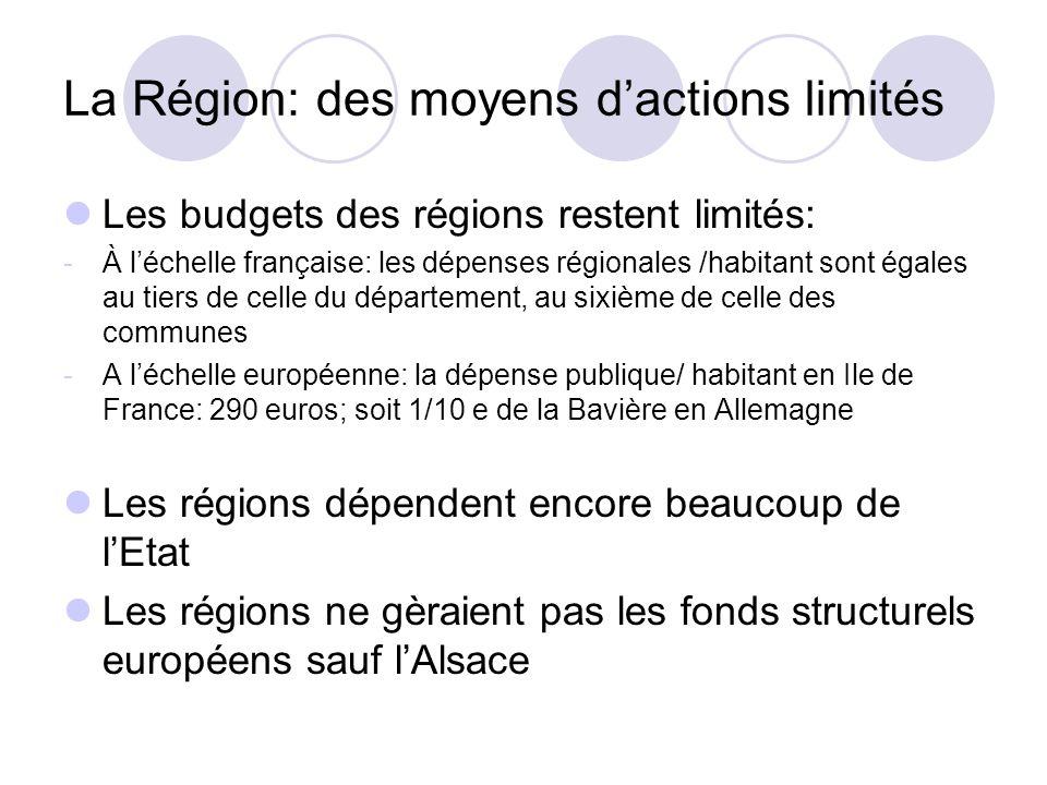 La Région: des moyens d'actions limités