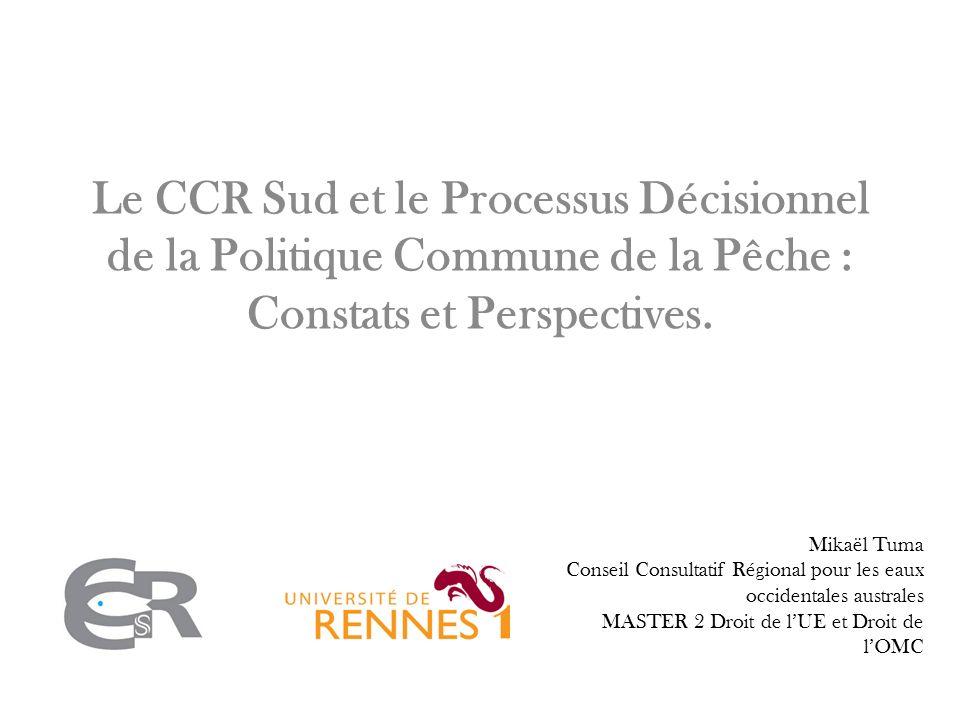 Le CCR Sud et le Processus Décisionnel de la Politique Commune de la Pêche : Constats et Perspectives.