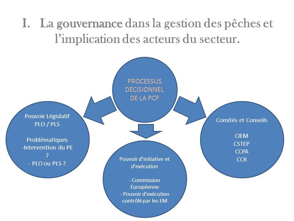 I. La gouvernance dans la gestion des pêches et l'implication des acteurs du secteur.