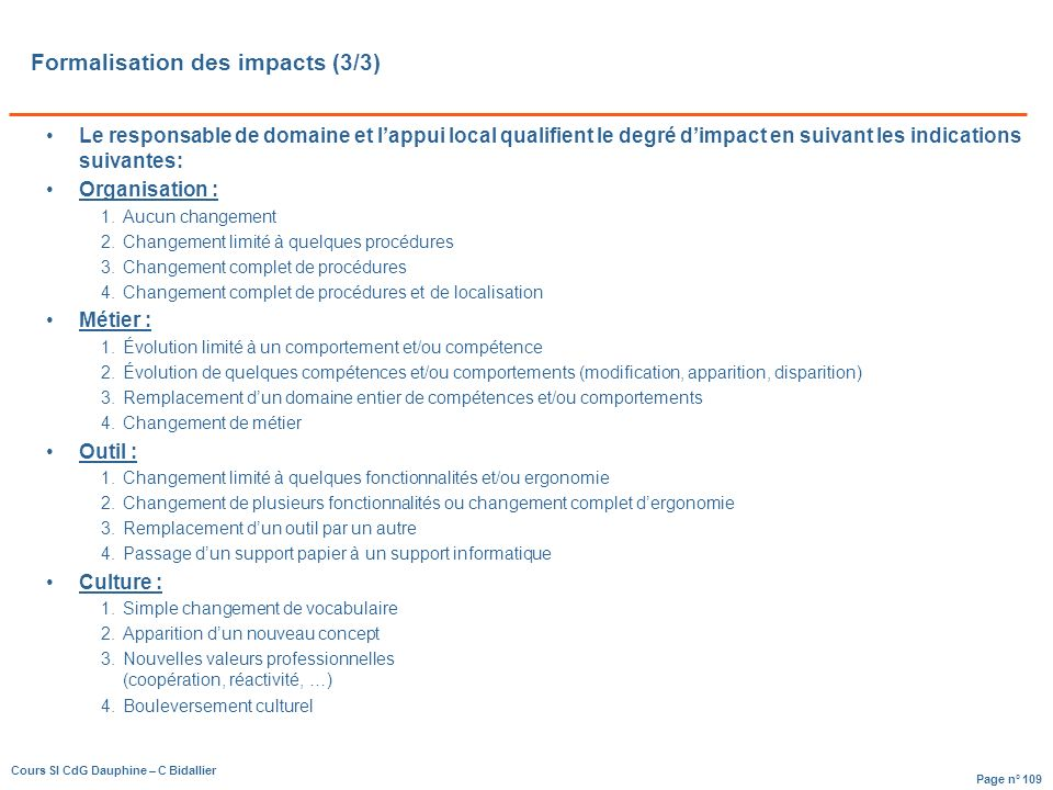 Formalisation des impacts (3/3)