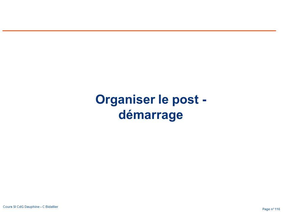 Organiser le post - démarrage