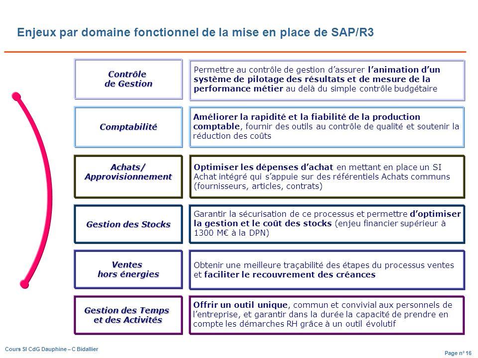 Enjeux par domaine fonctionnel de la mise en place de SAP/R3