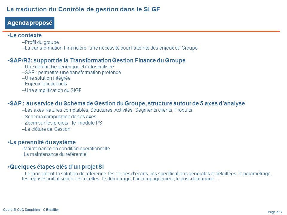 La traduction du Contrôle de gestion dans le SI GF