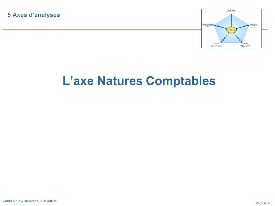 L'axe Natures Comptables