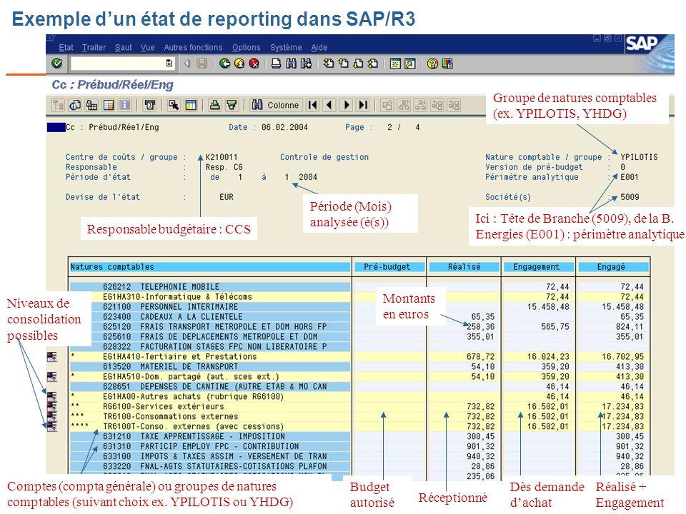 Exemple d'un état de reporting dans SAP/R3