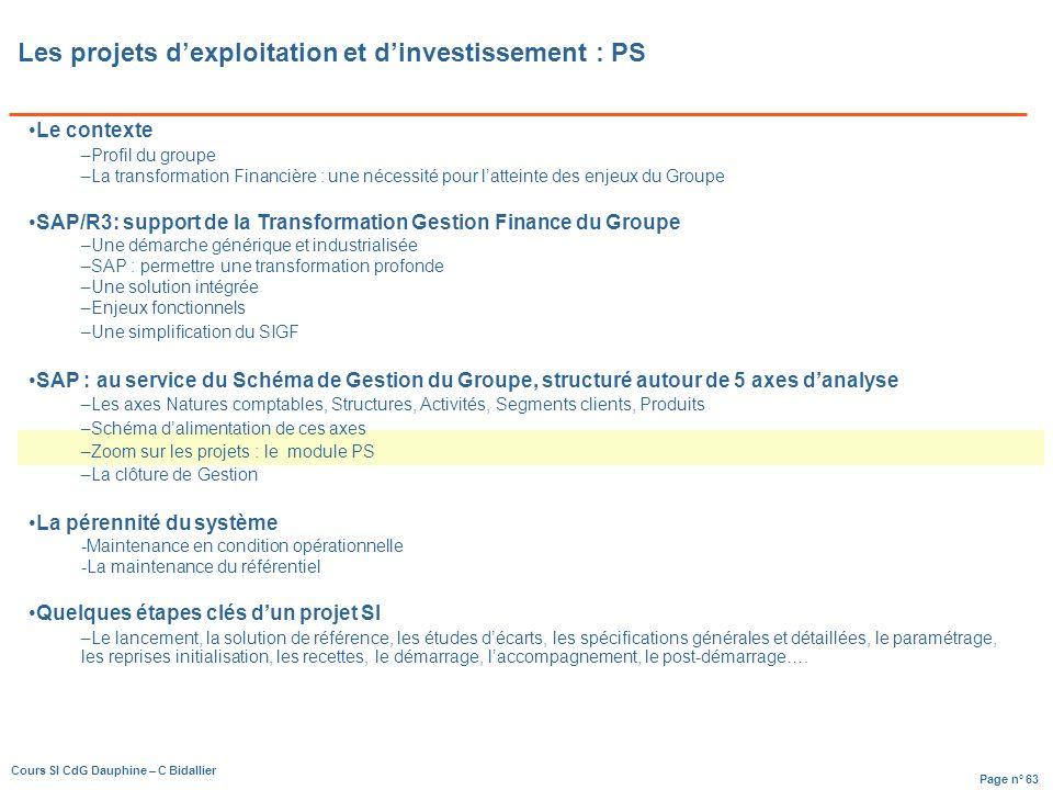 Les projets d'exploitation et d'investissement : PS