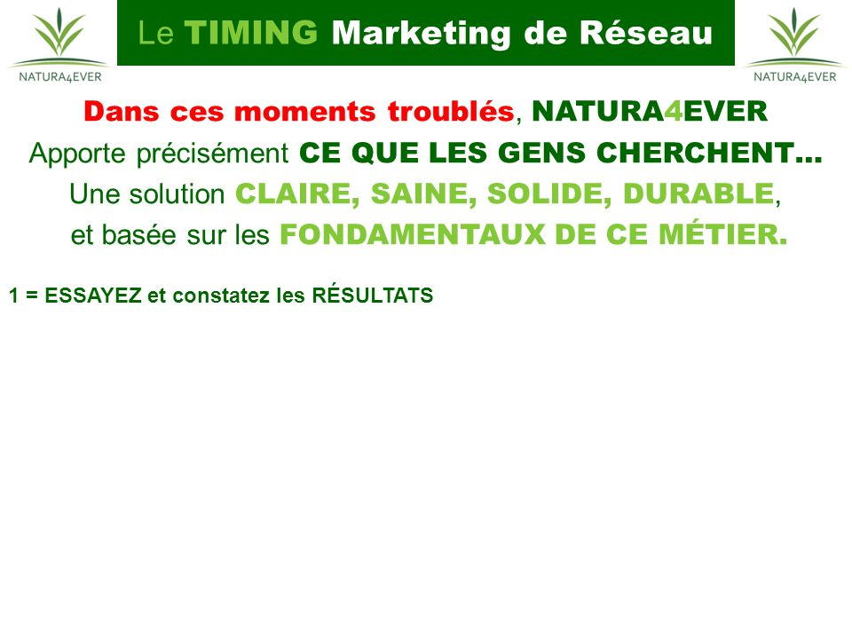 Le TIMING Marketing de Réseau