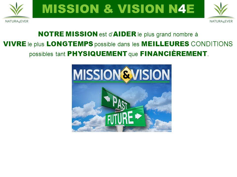 MISSION & VISION N4E NOTRE MISSION est d'AIDER le plus grand nombre à
