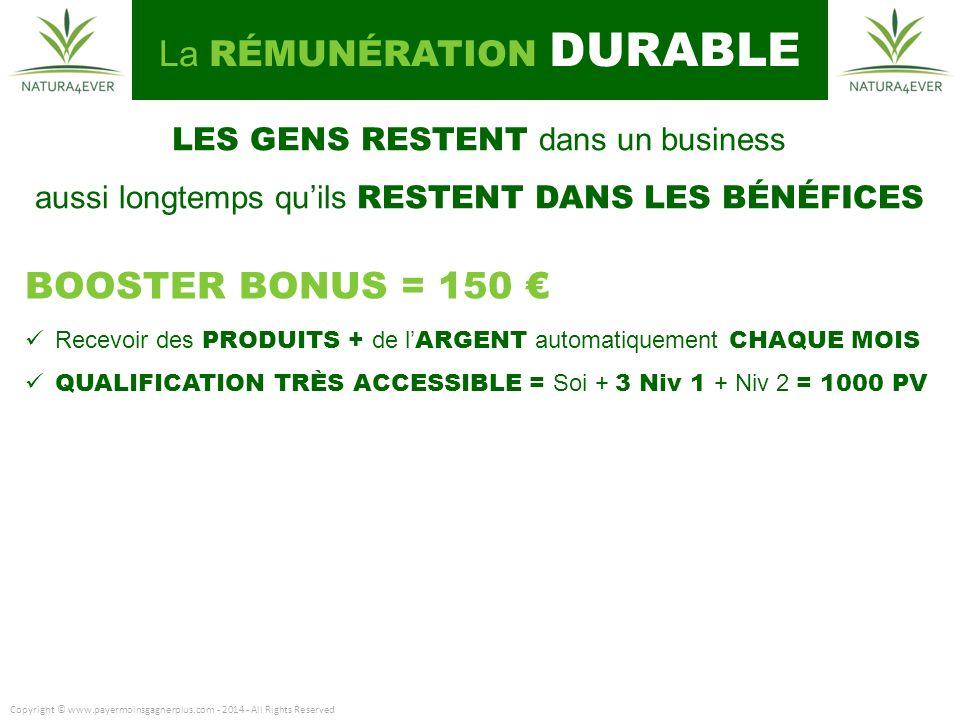 BOOSTER BONUS = 150 € La RÉMUNÉRATION DURABLE