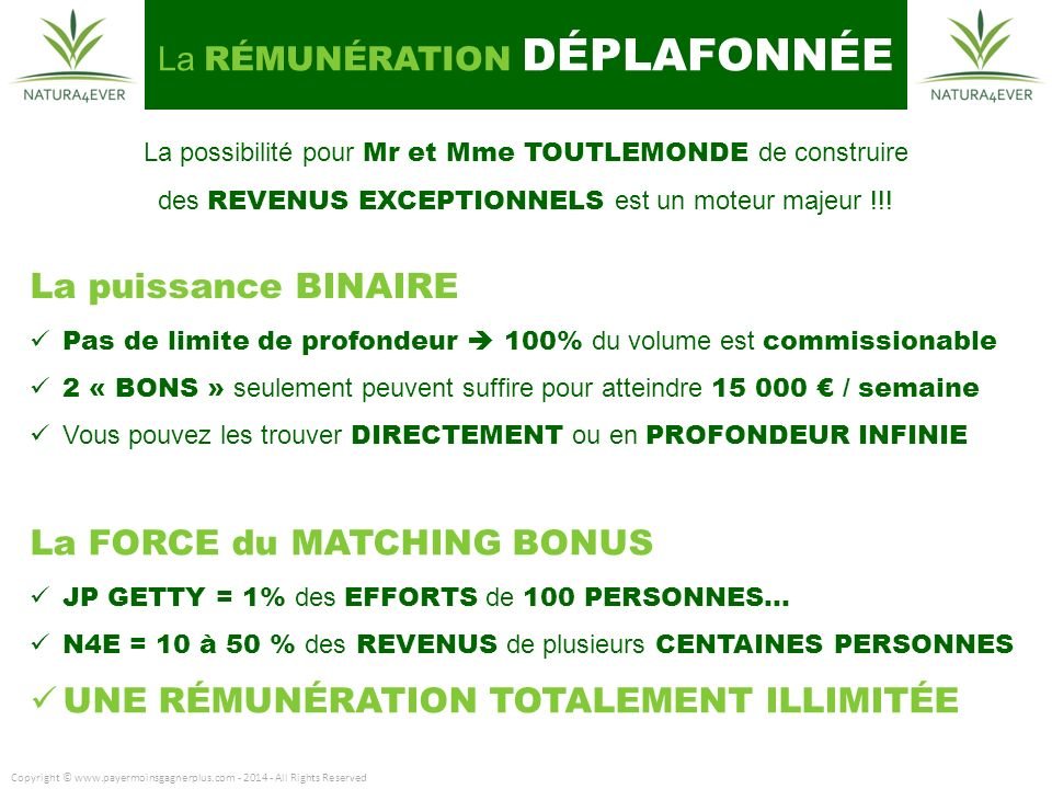 La FORCE du MATCHING BONUS