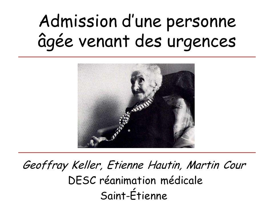 Admission d'une personne âgée venant des urgences