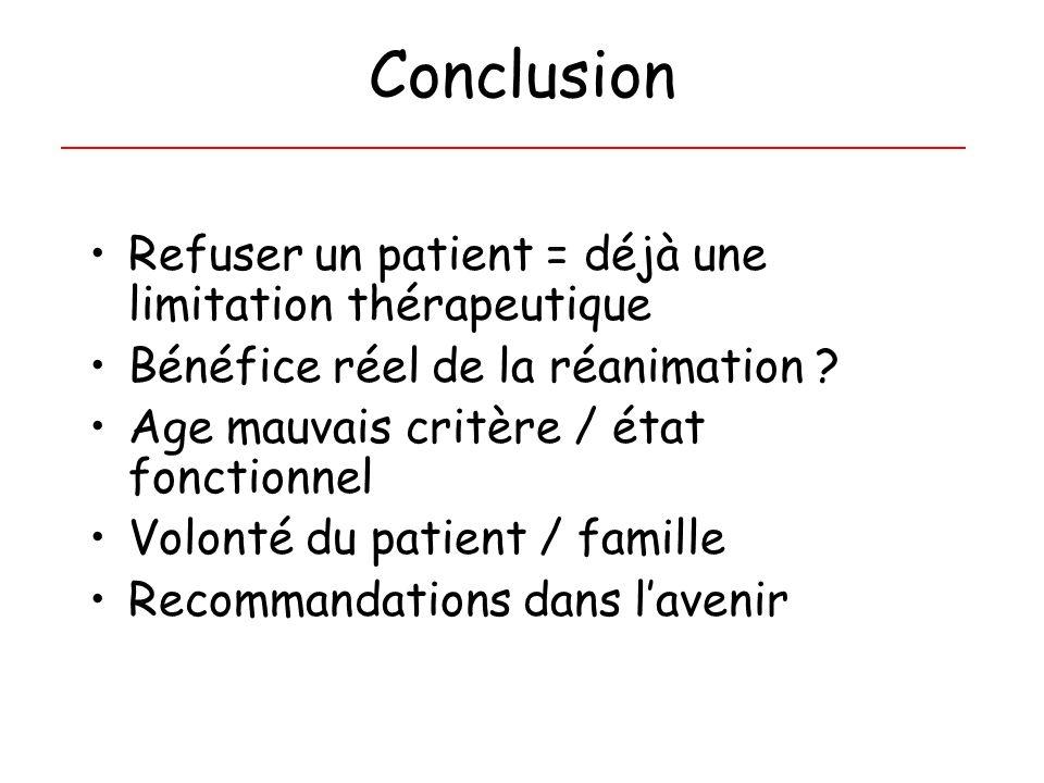 Conclusion Refuser un patient = déjà une limitation thérapeutique