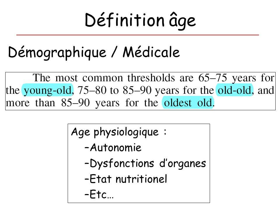 Définition âge Démographique / Médicale Age physiologique : Autonomie