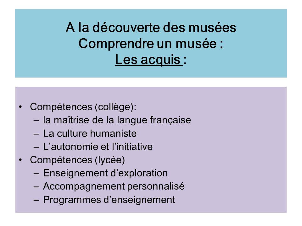 A la découverte des musées Comprendre un musée : Les acquis :