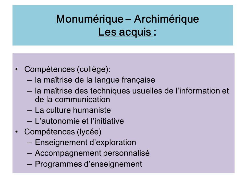 Monumérique – Archimérique Les acquis :
