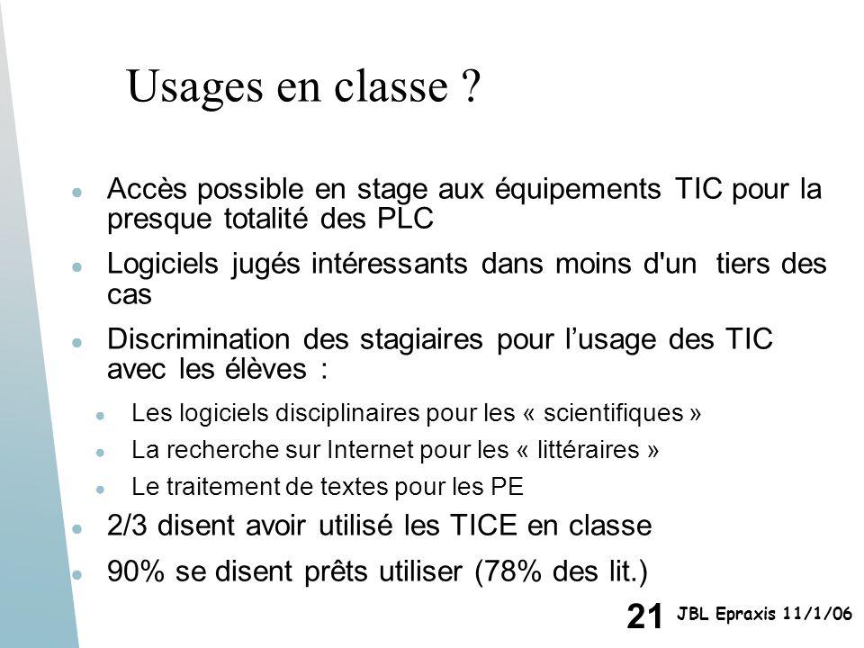 Usages en classe Accès possible en stage aux équipements TIC pour la presque totalité des PLC.