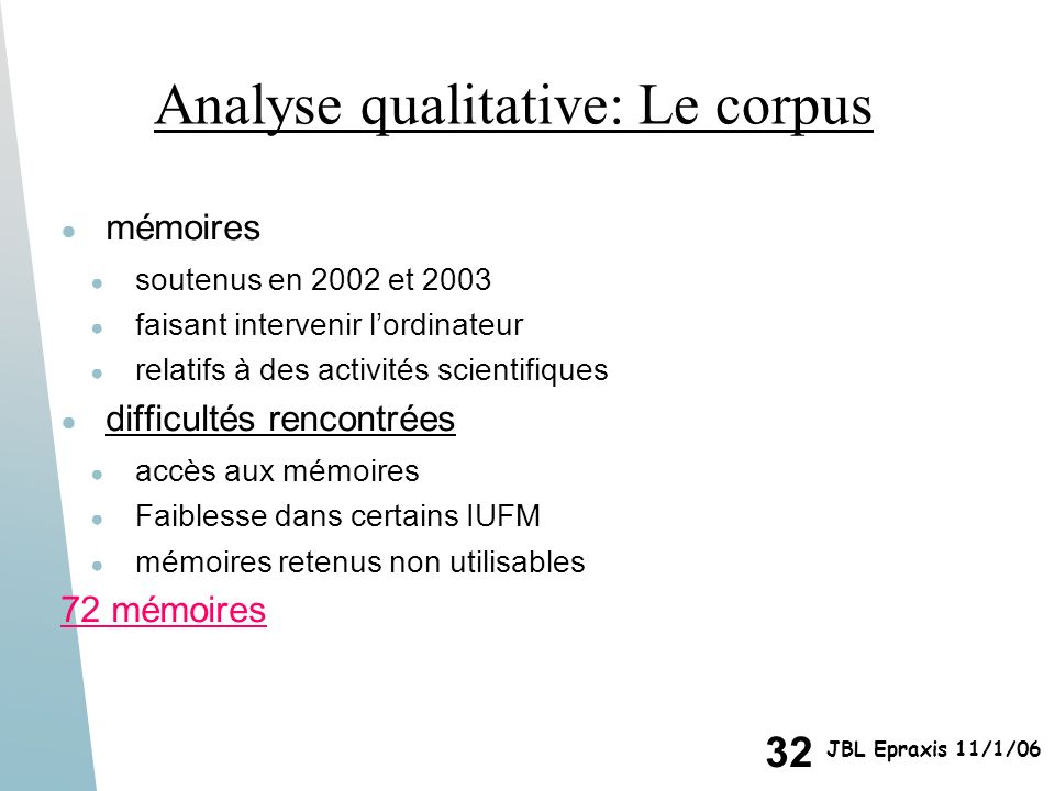 Analyse qualitative: Le corpus
