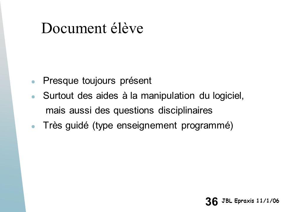 Document élève Presque toujours présent
