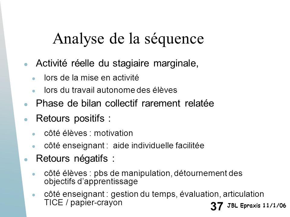 Analyse de la séquence Activité réelle du stagiaire marginale,
