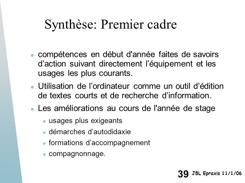 Synthèse: Premier cadre