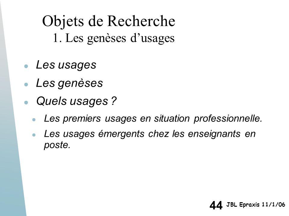 Objets de Recherche 1. Les genèses d'usages