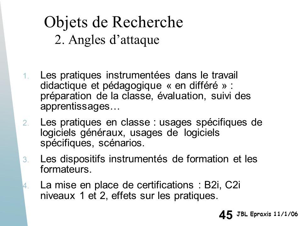 Objets de Recherche 2. Angles d'attaque