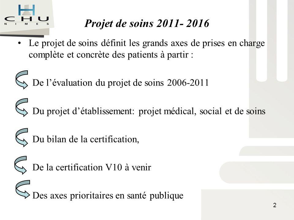 Projet de soins 2011- 2016 Le projet de soins définit les grands axes de prises en charge complète et concrète des patients à partir :