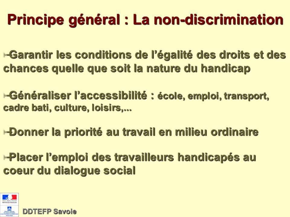 Principe général : La non-discrimination