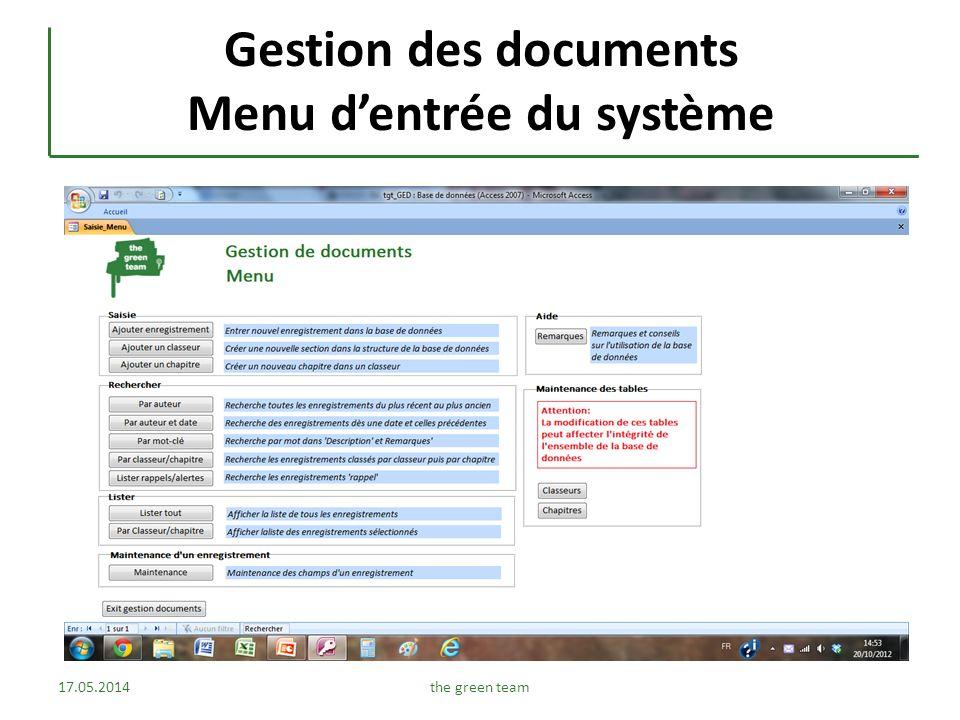 Gestion des documents Menu d'entrée du système