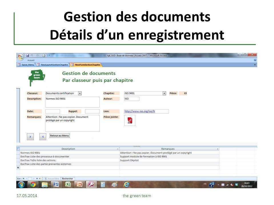 Gestion des documents Détails d'un enregistrement
