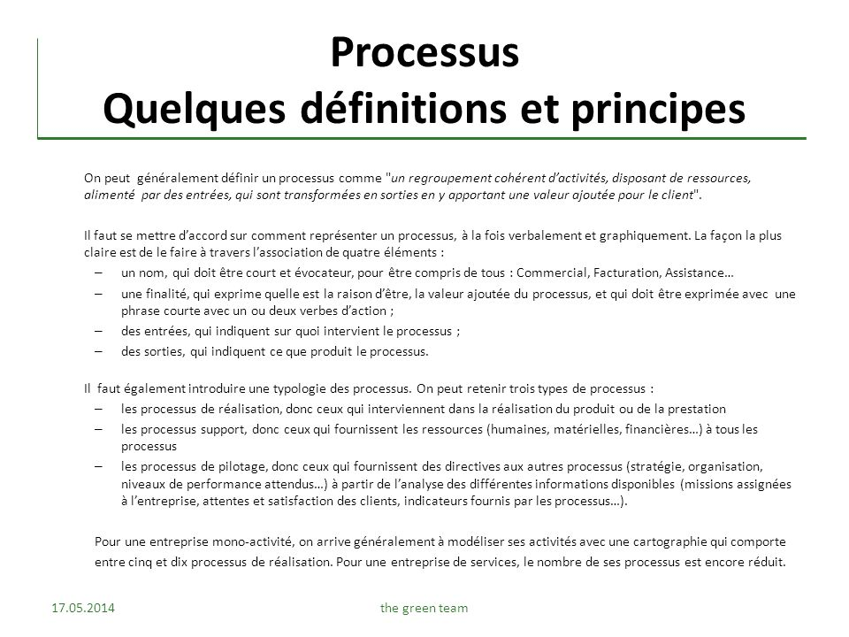 Processus Quelques définitions et principes