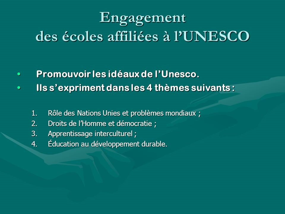 Engagement des écoles affiliées à l'UNESCO
