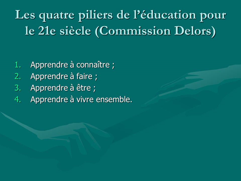 Les quatre piliers de l'éducation pour le 21e siècle (Commission Delors)