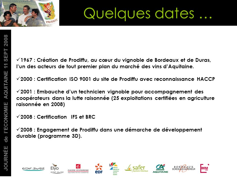 Quelques dates …