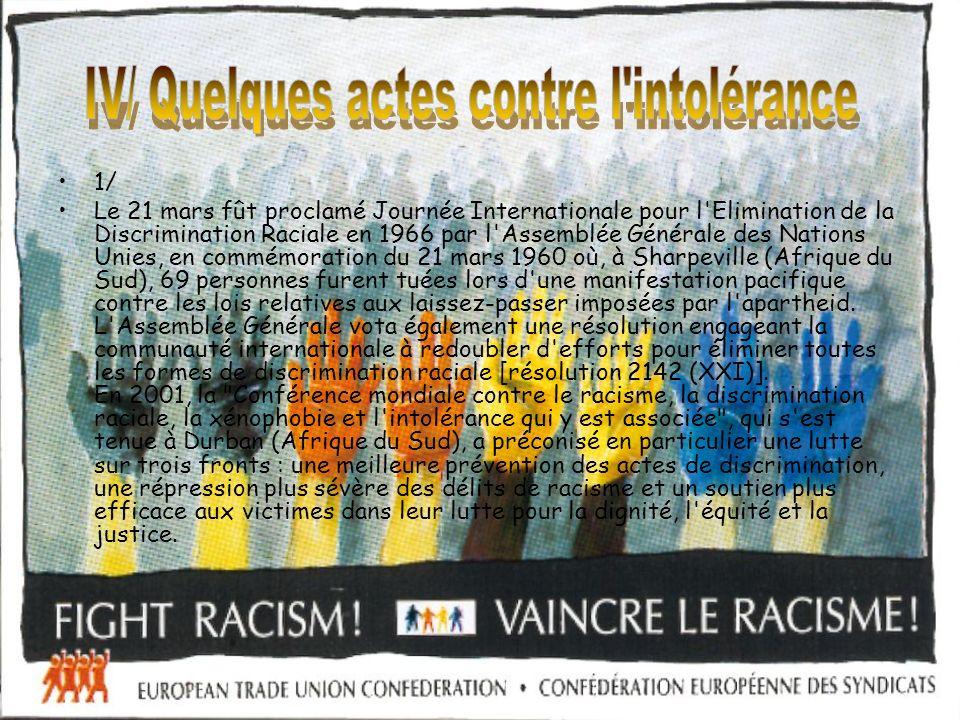 IV/ Quelques actes contre l intolérance