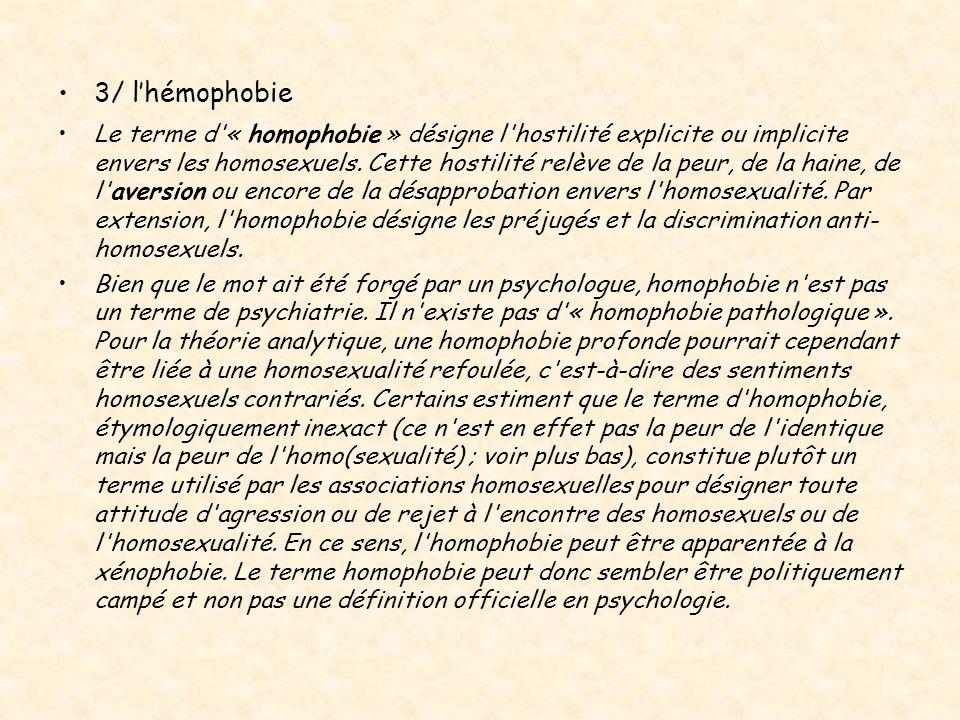 3/ l'hémophobie