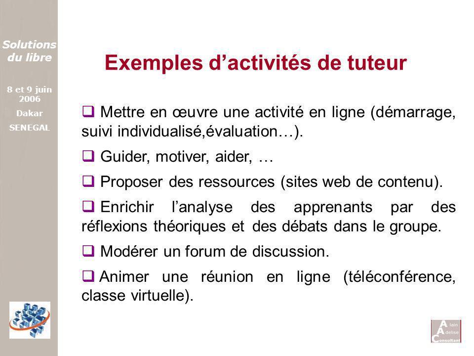 Exemples d'activités de tuteur