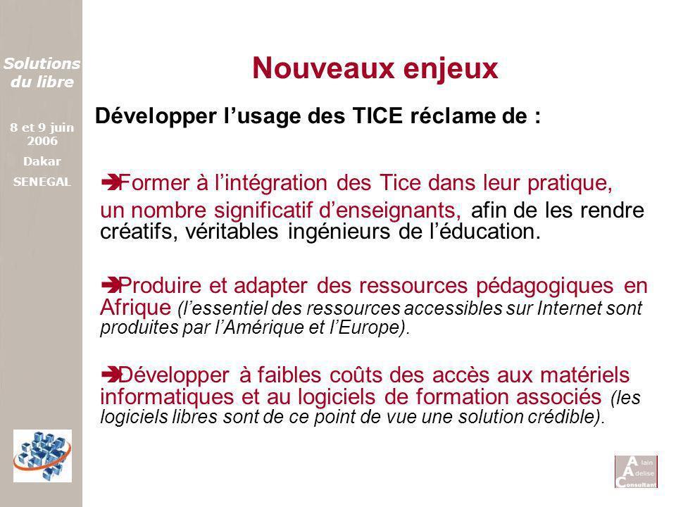 Nouveaux enjeux Développer l'usage des TICE réclame de :